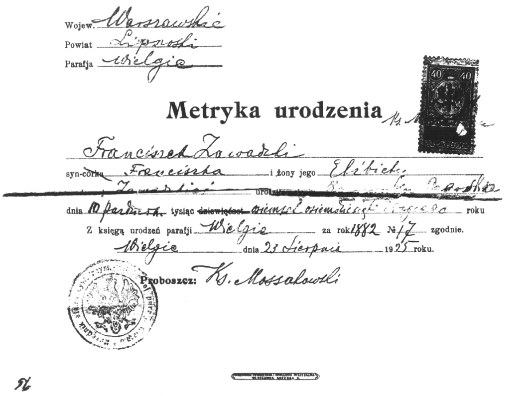 Frank Zawacki Birth Record